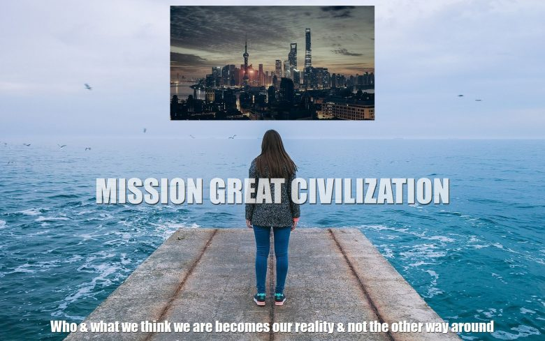 Woman creating great civilization with imagination while looking at ocean