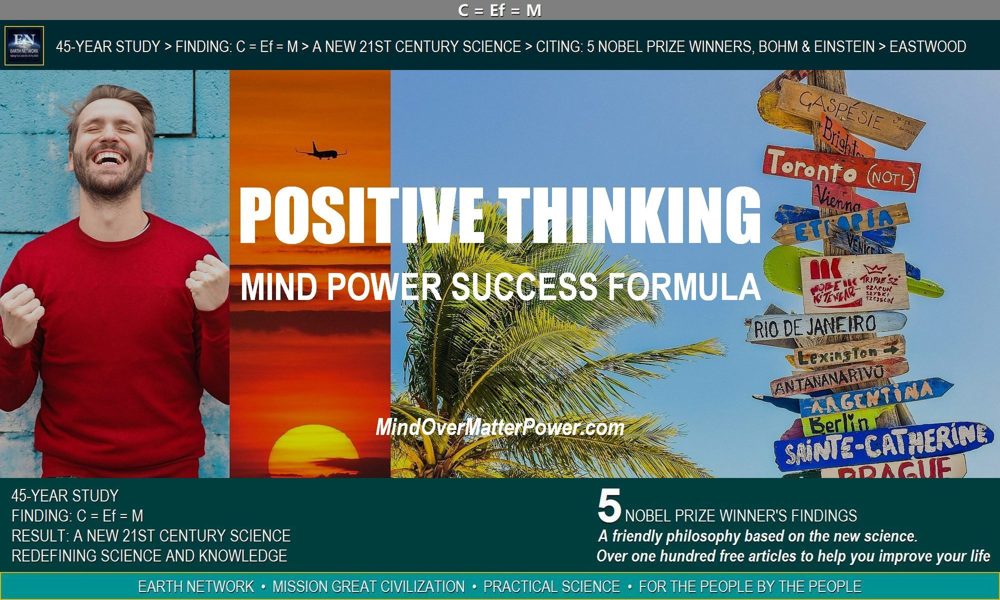 Psyched man depicts result of knowing how to apply mind over matter mind power principles with positive thoughts and emotions.