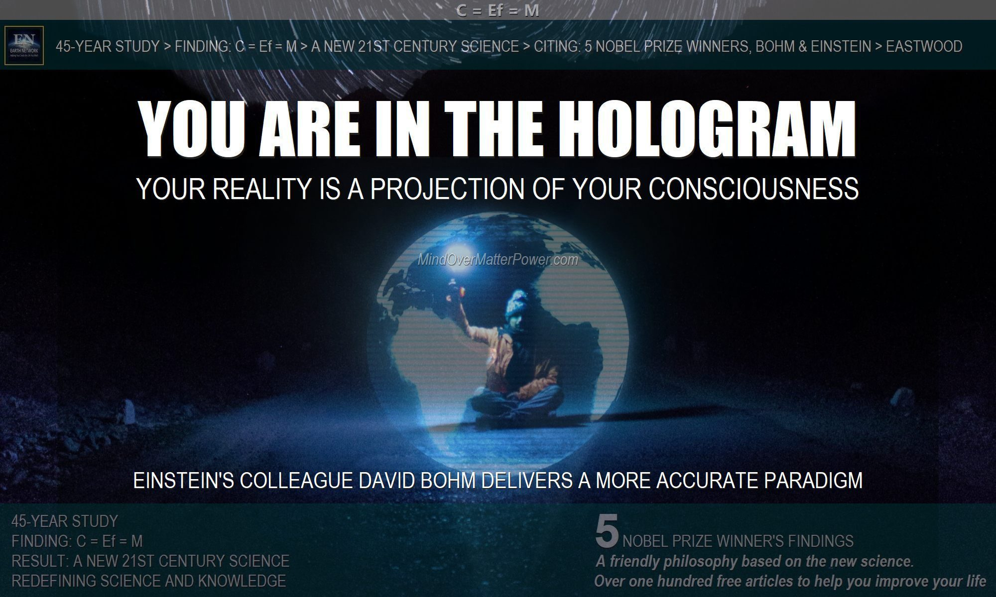 Man in hologram of earth depicts the fact that your brain and 5 sense project your physical reality. You are in a holographic projection of your consciousness.