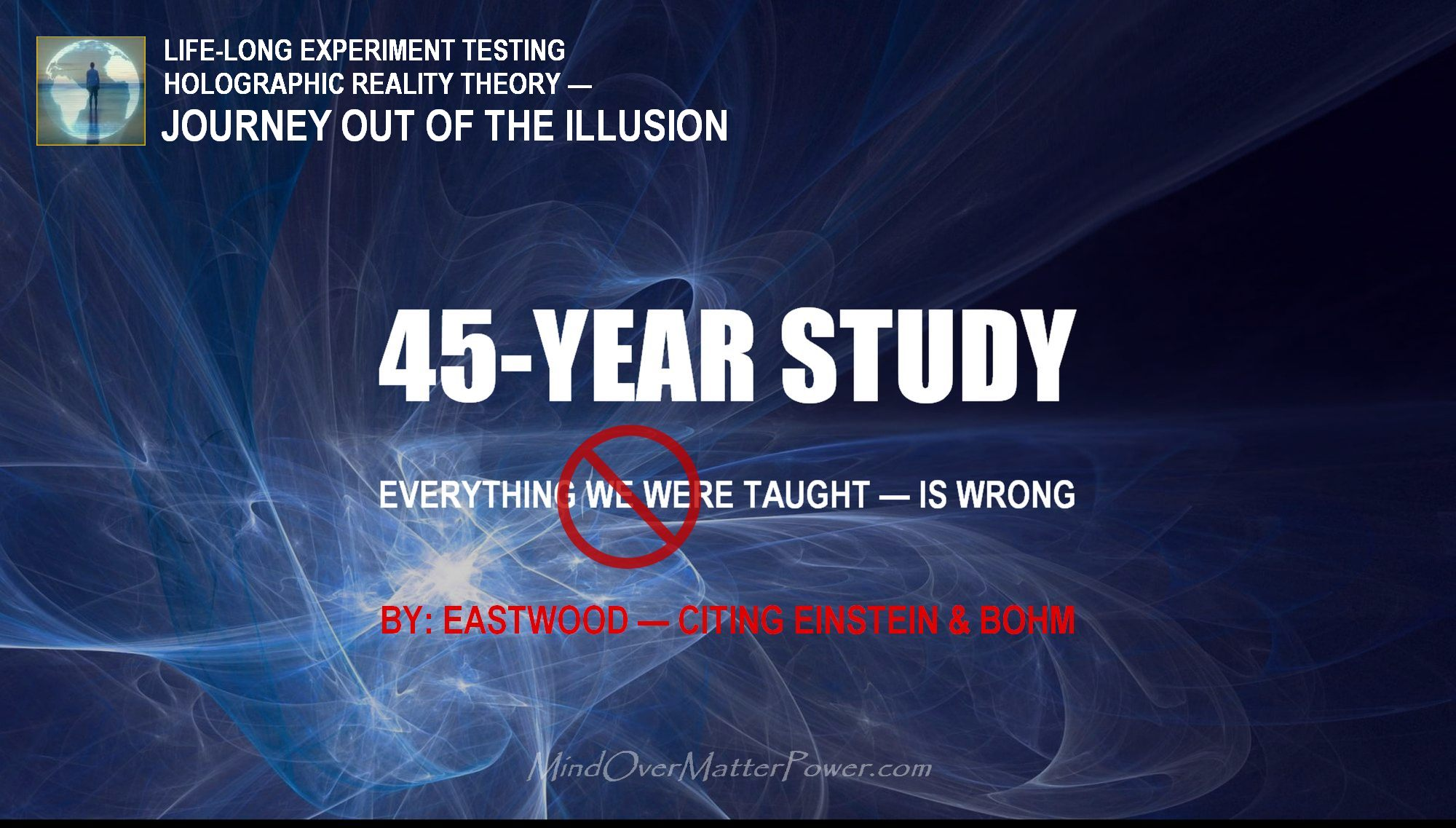 A 45-year study testing holographic universe theory. Metaphysical principles applied and tested by Eastwood.