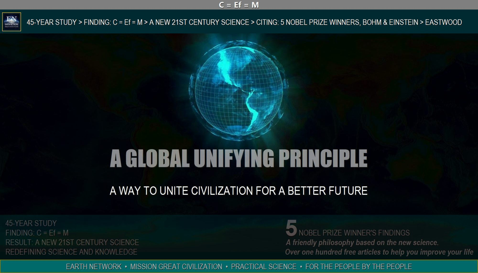 Hologram of earth depicts a unifying principle to unite the world for a better future.