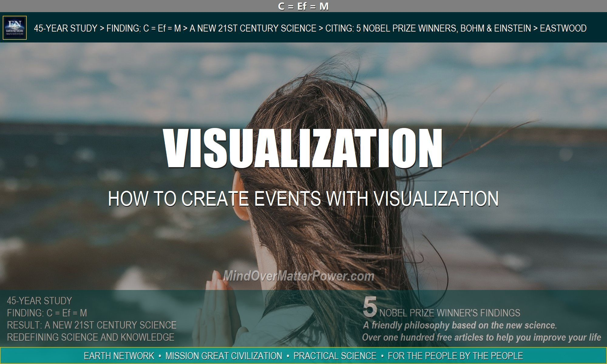 Woman visualizing. Show how to create future events with visualization.