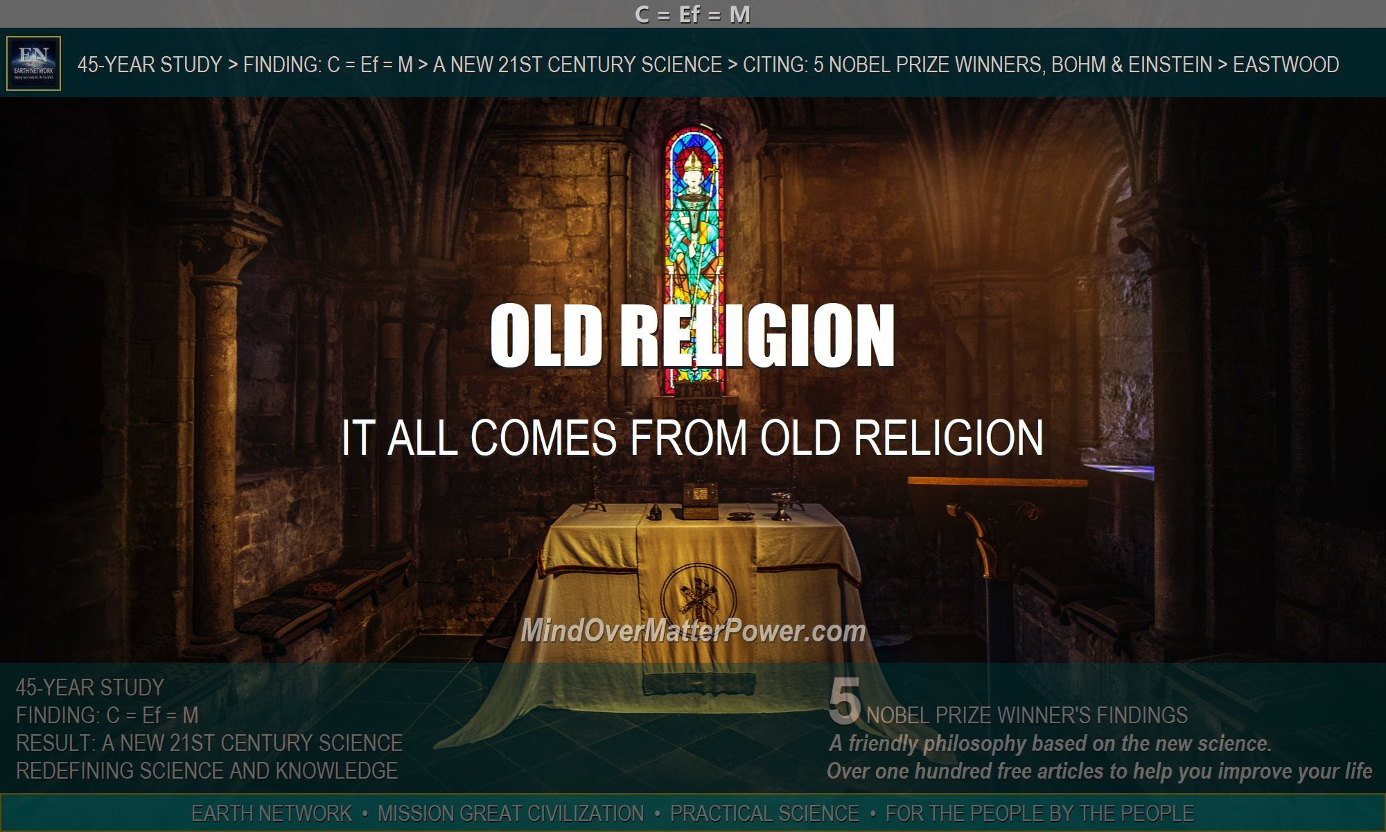 Church depicts the origin of modern thought in old religion.