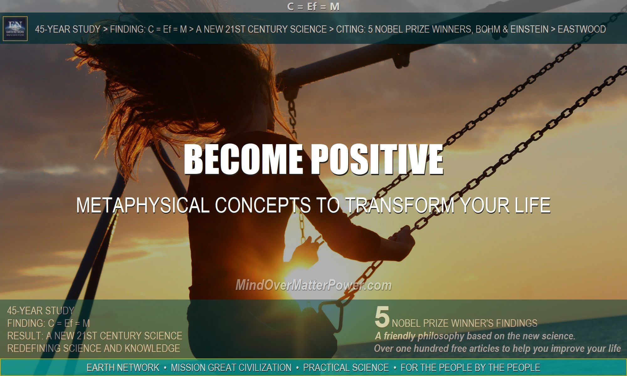 Woman on swing has stopped worry, negative thinking, fear and doubt using metaphysical concepts to transform her life.