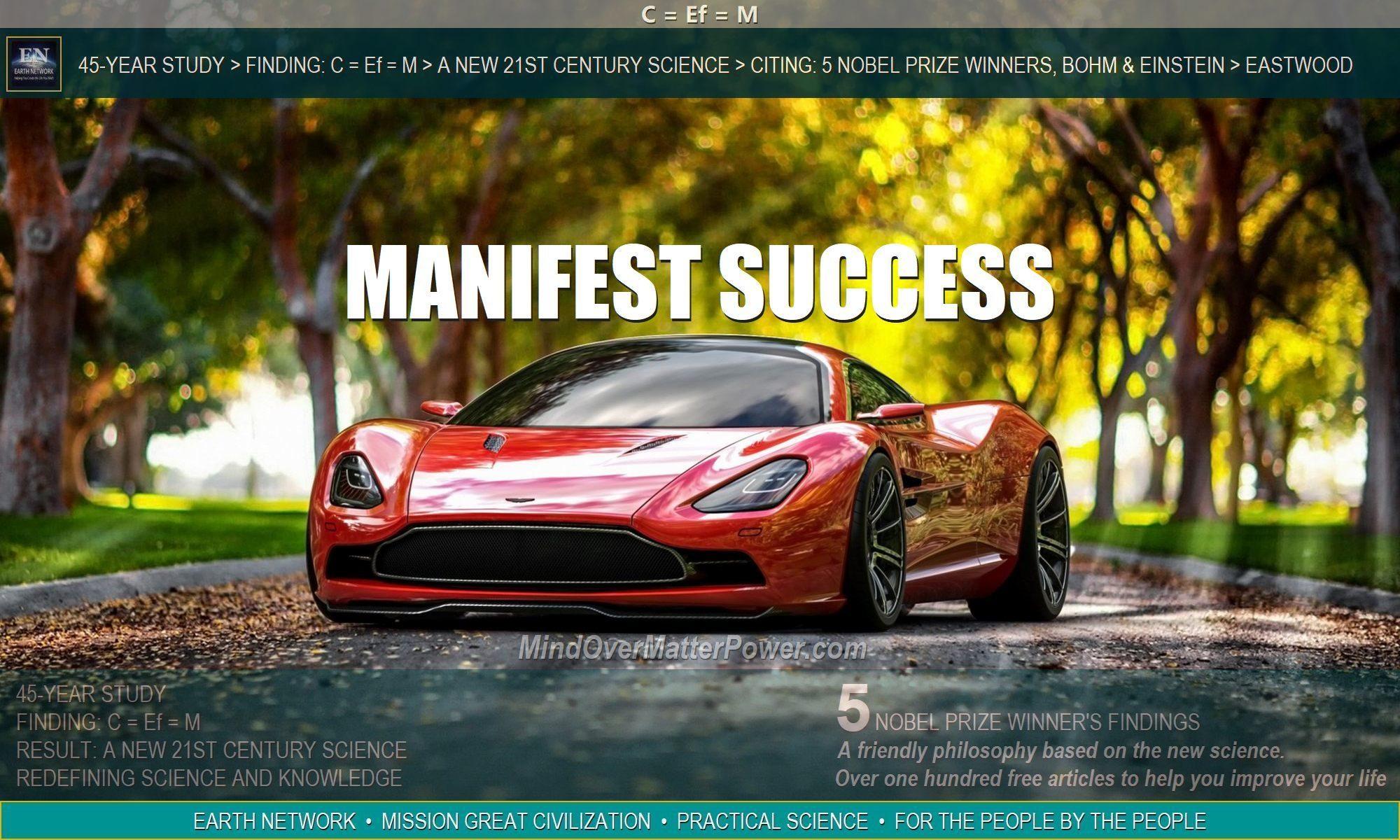 Austin Martin Ferrari depicts success manifesting using principles, imagination, positive desire, willpower, resolve and determination.