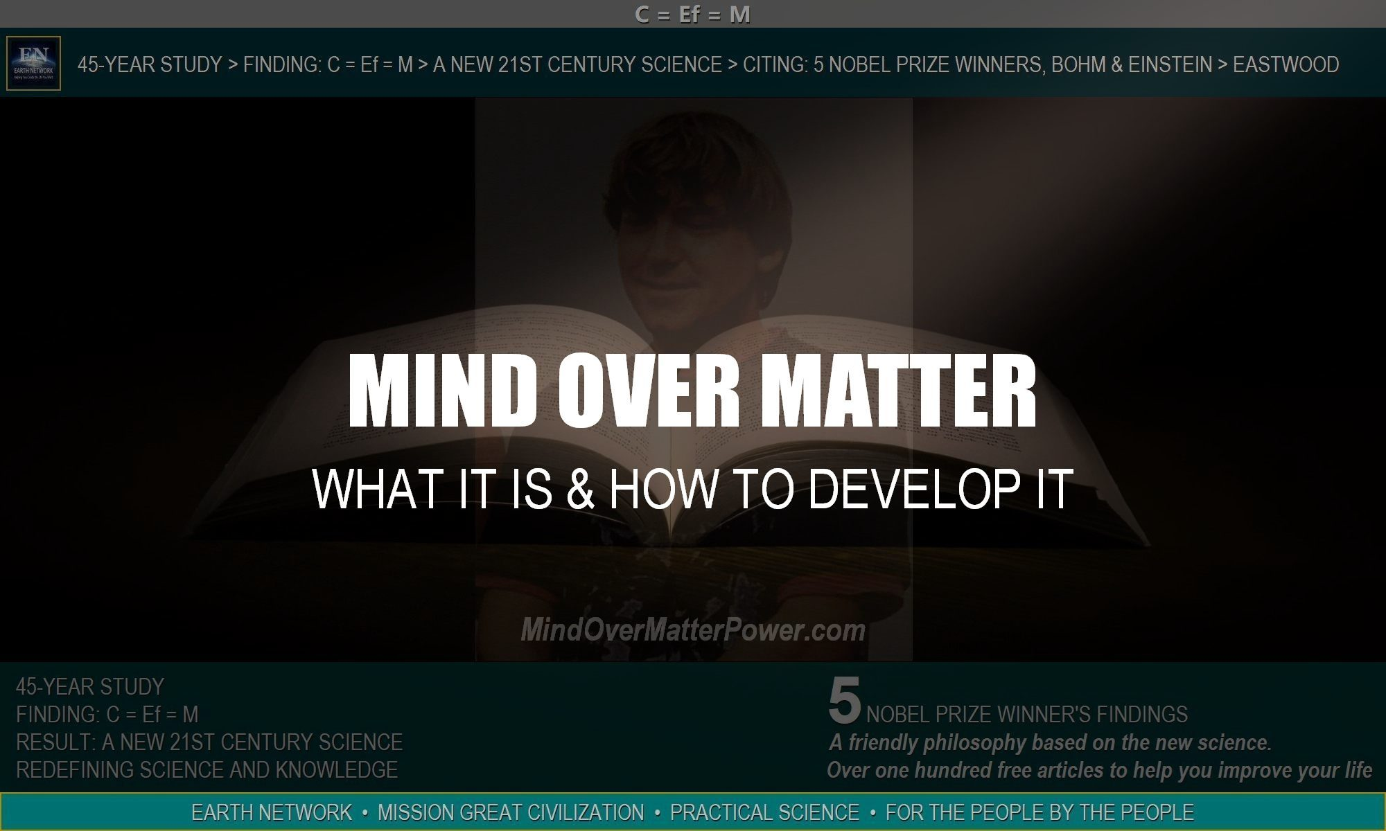 William Eastwood's story and 15 books are evidence and proof of mind over matter. Learn what mind over matter really is.