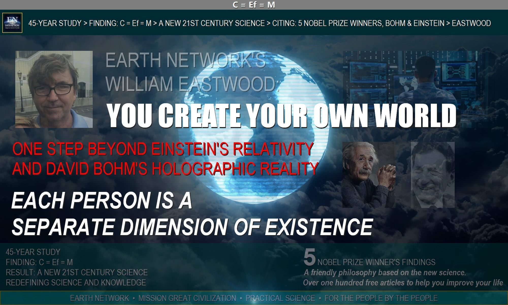 William Eastwood goes beyond Einstein & Bohm to give you the truth about reality. Your world is a projection you create & can change in any way you want.